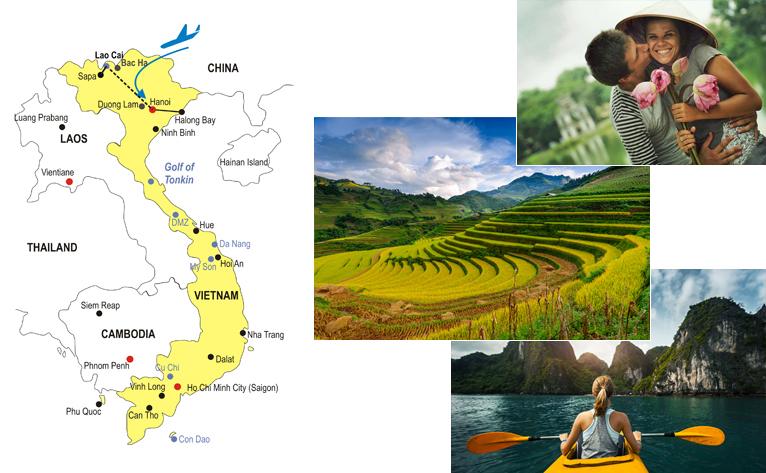 11-Day North Vietnam Honeymoon Tour Map